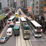 香港島の二階建てバスと、二階建て路面電車